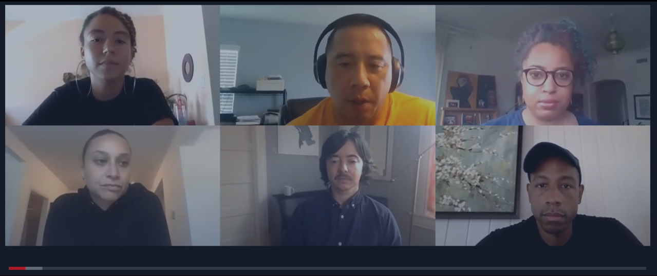 Six people video conferencing